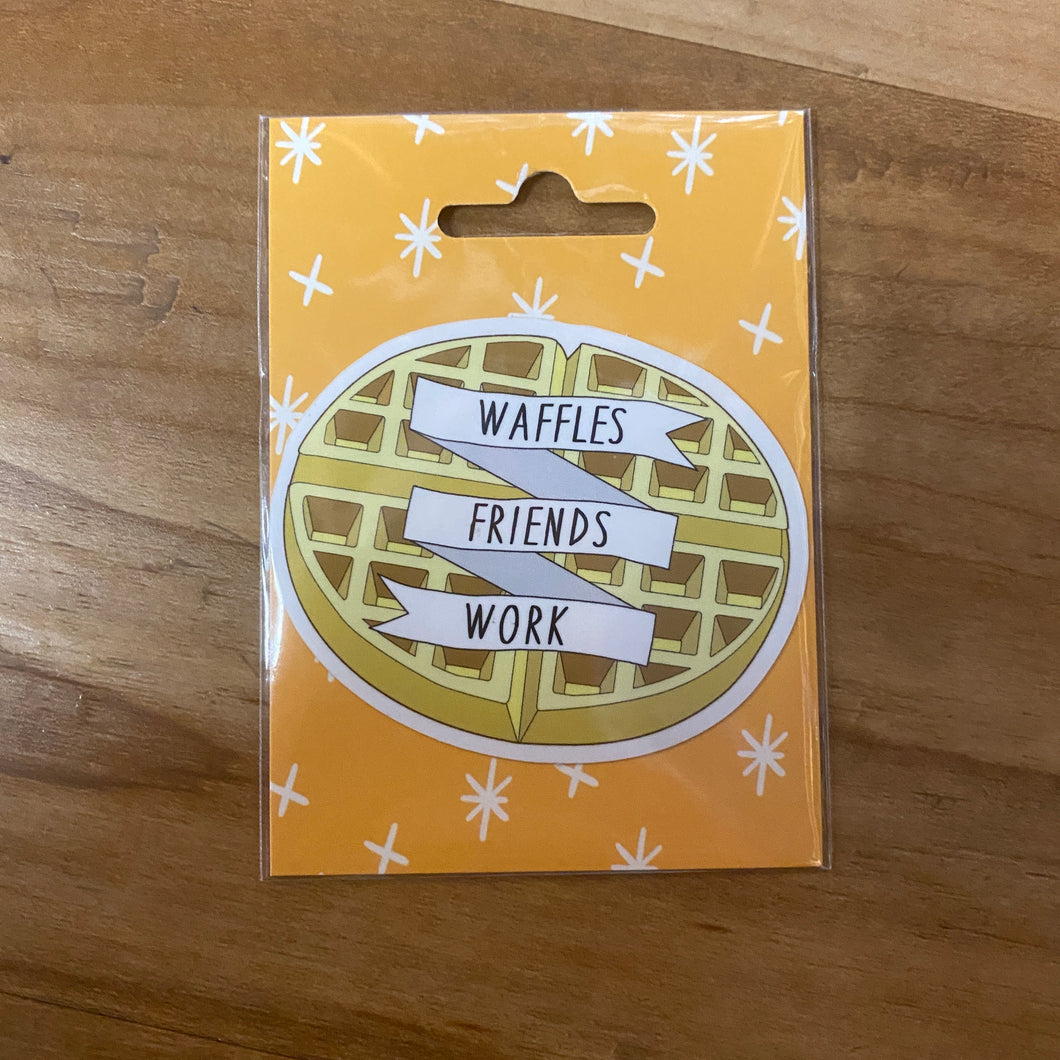 Parks and Rec Waffles Friends Work Sticker
