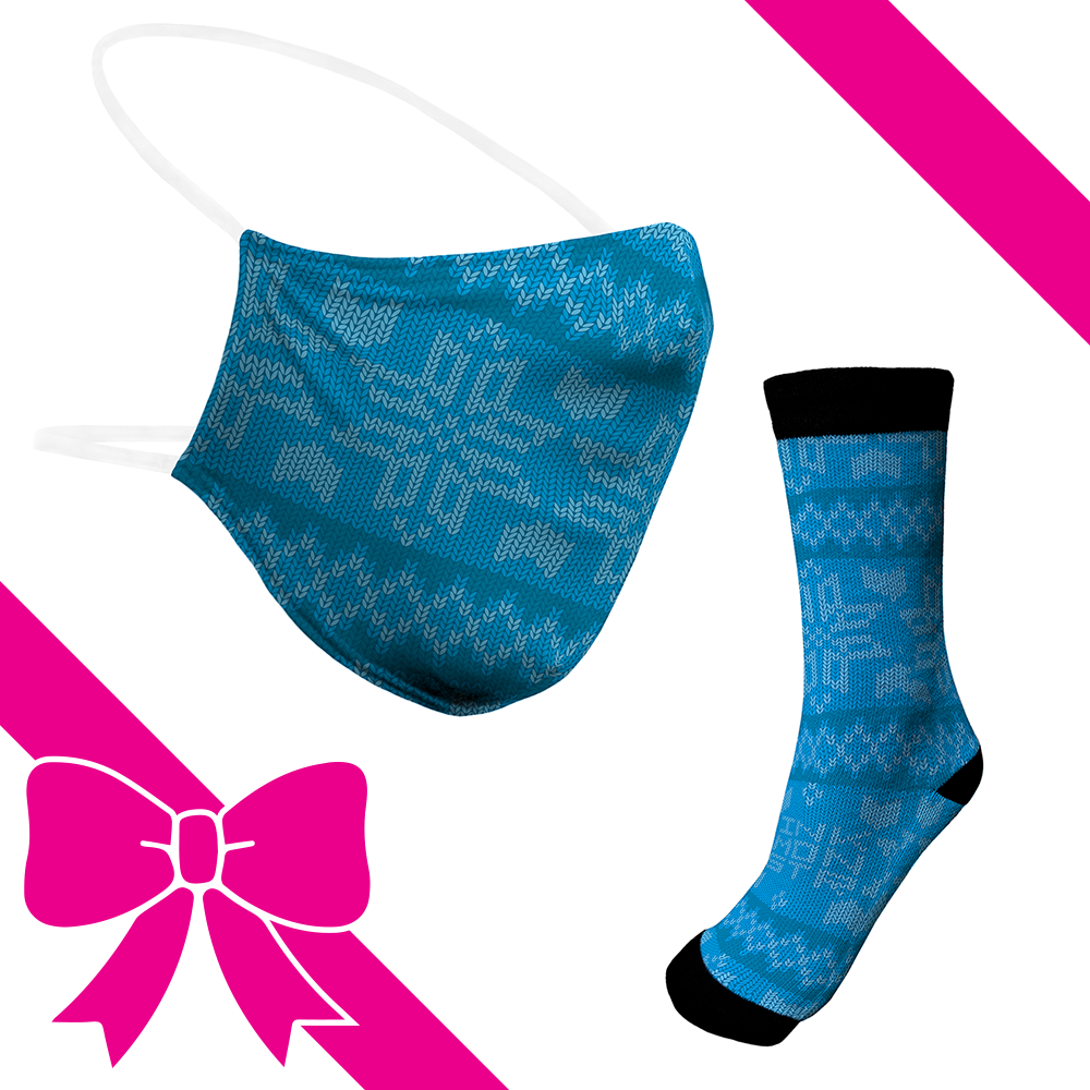 Knit Light Blue - BTH Mask+Socks Gift Pack
