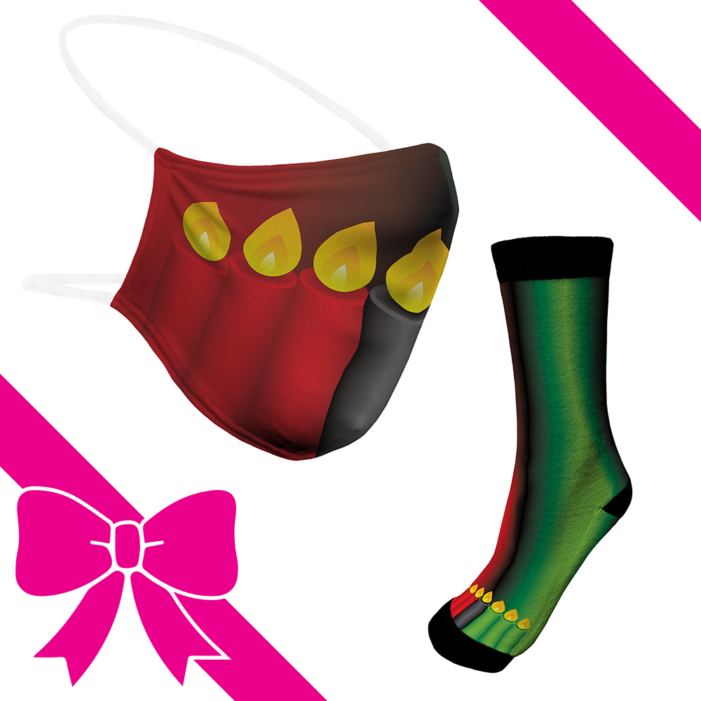 Kwanzaa Candles - BTH Mask+Socks Gift Pack