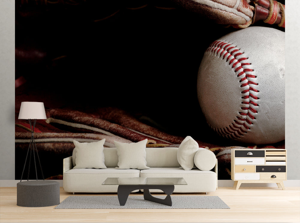 Baseball In Glove - Wall Mural