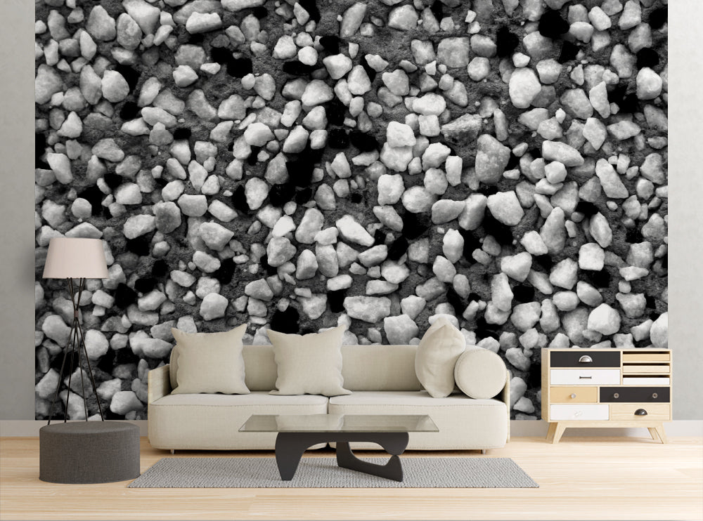 Black & White Pebbles - Wall Mural