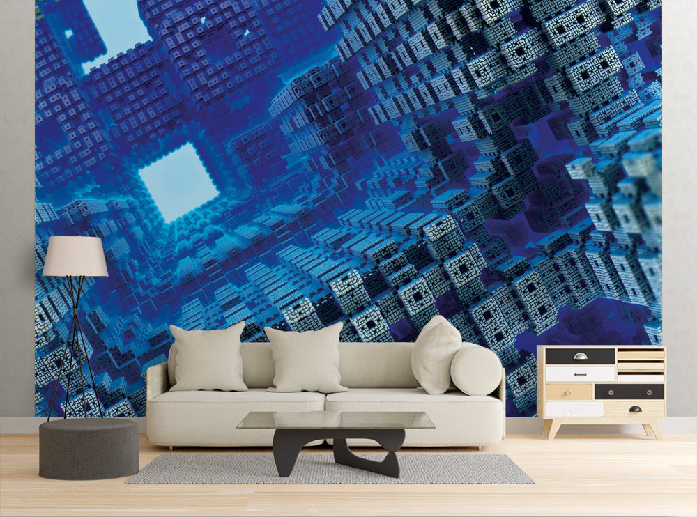 Blue Cubes - Wall Mural