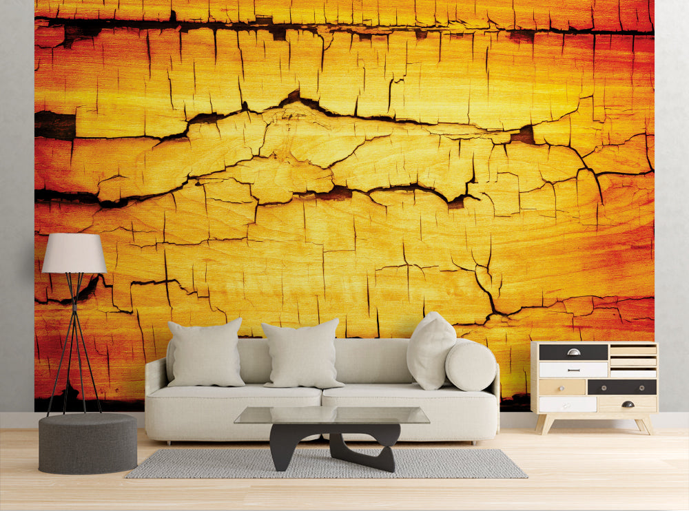 Cracked Wood - Wall Mural