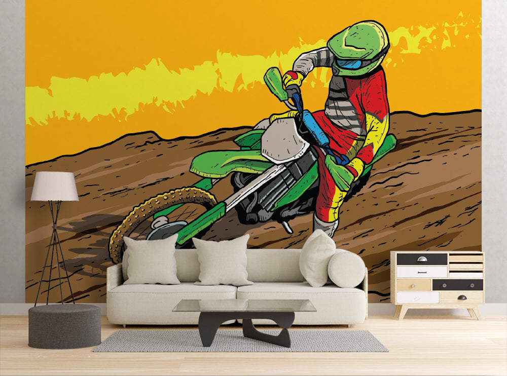 Dirt Bike Racer - Wall Mural