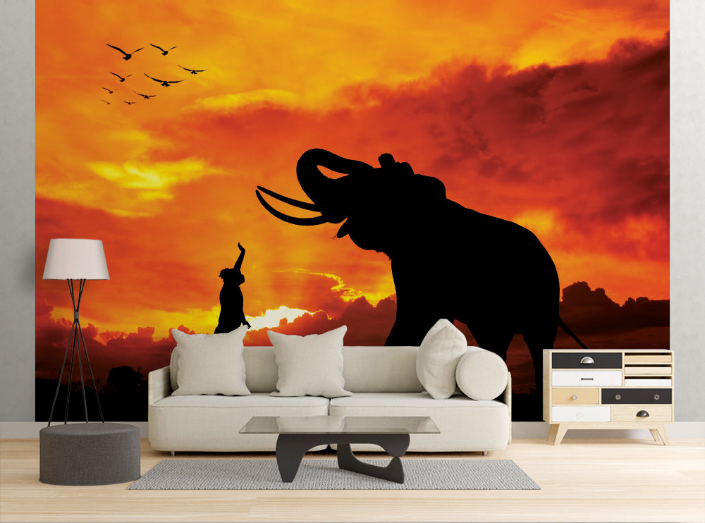 Elephant Silhouette - Wall Mural
