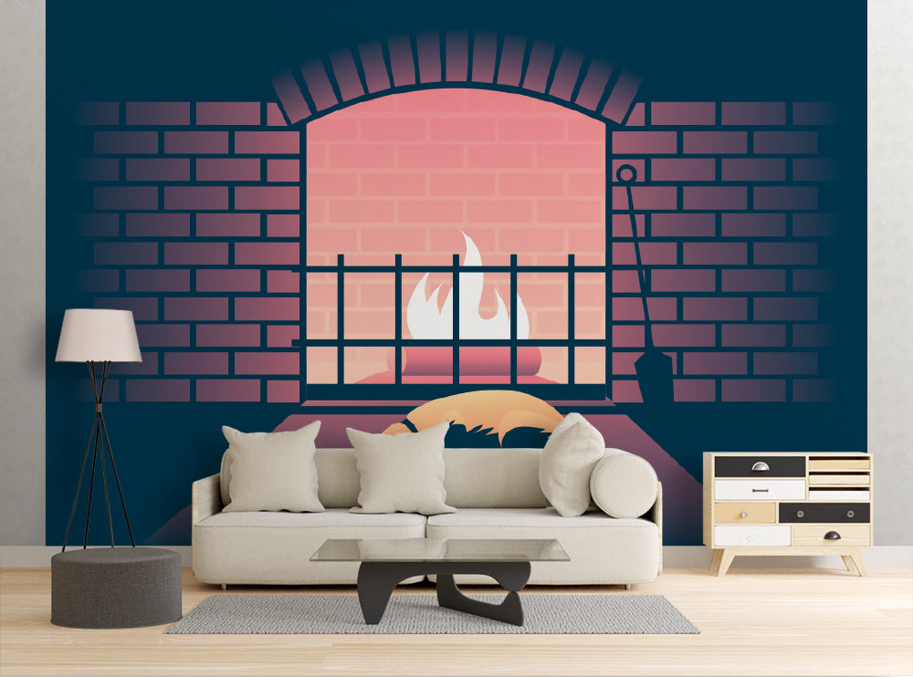 Fireplace Dog - Wall Mural