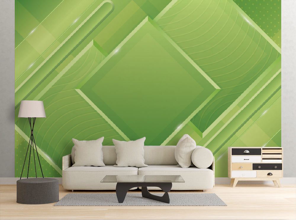 Geometric Green - Wall Mural