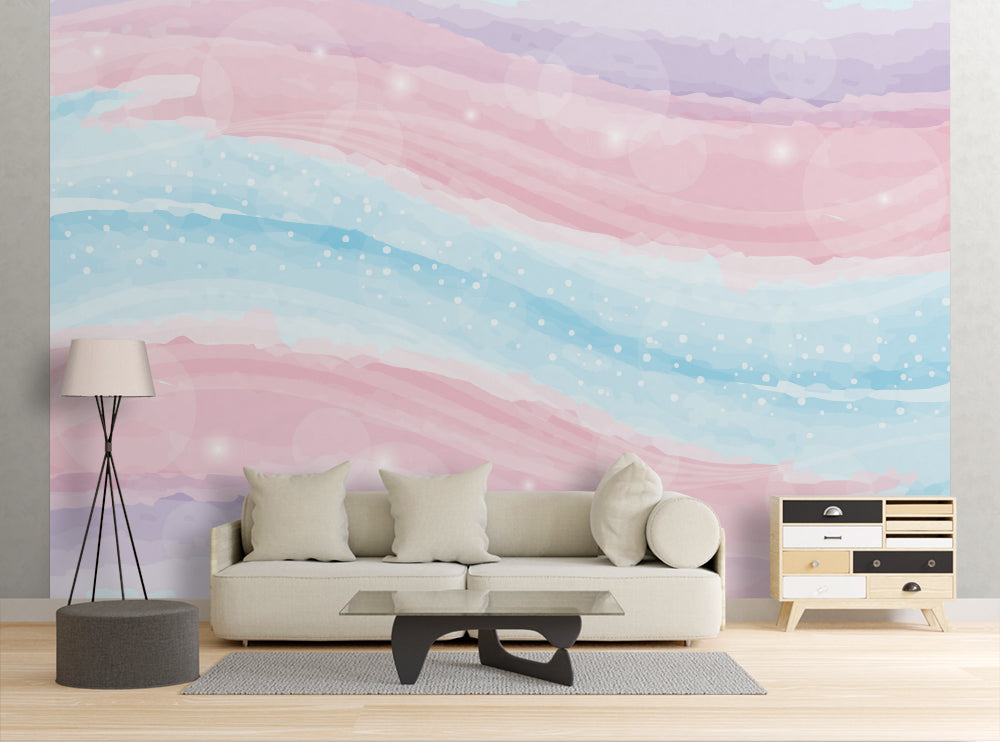 Pastel Watercolor Wave - Wall Mural