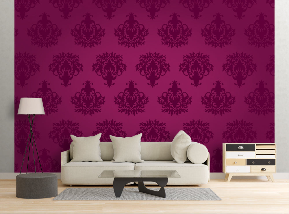 Purple Floral Pattern - Wall Mural