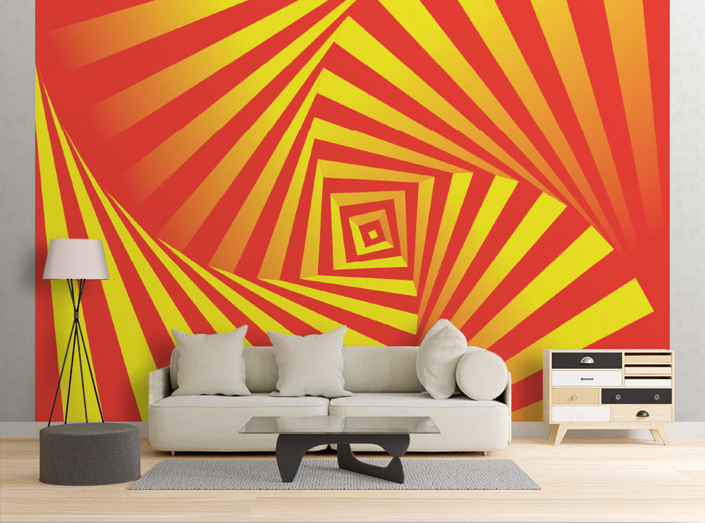 Red & Yellow Hypnotic Swirl - Wall Mural