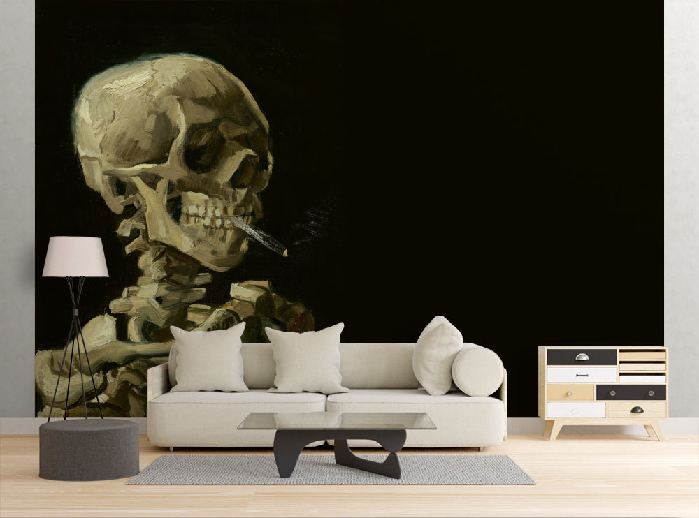 Smoking Skeleton - Wall Mural