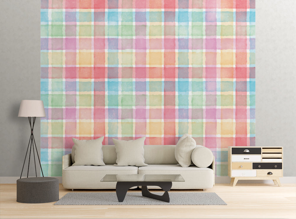 Water Color Gingham - Wall Mural