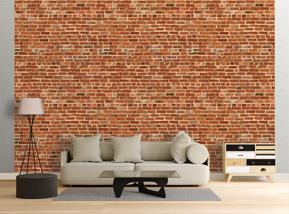 Rough Red Bricks - Wall Mural