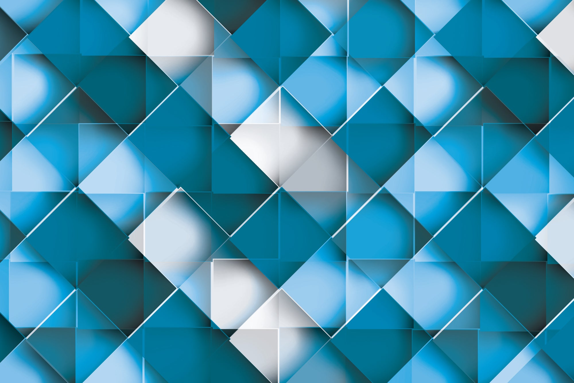 Blue Squares - Wall Mural