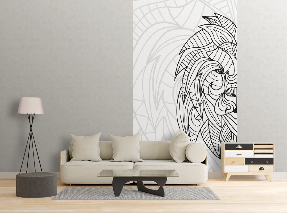 Lined Lion - Dry Erase Mural