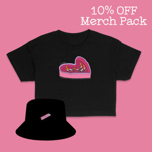 Ashtray Crop Tee + Bucket Hat Merch Pack Black - Rya Park (Save 10%)
