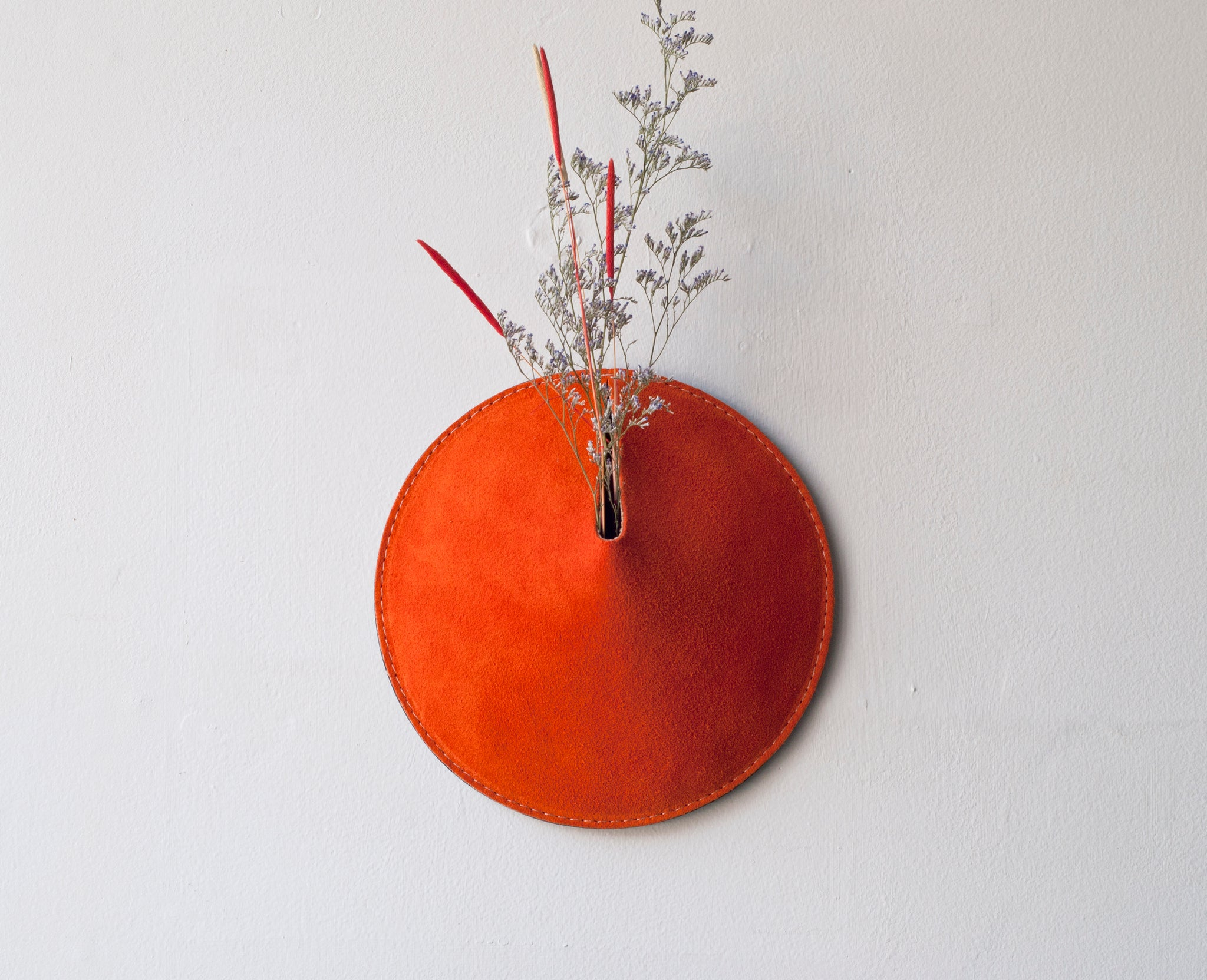 3D Wall Vase / Suede in Neon Orange