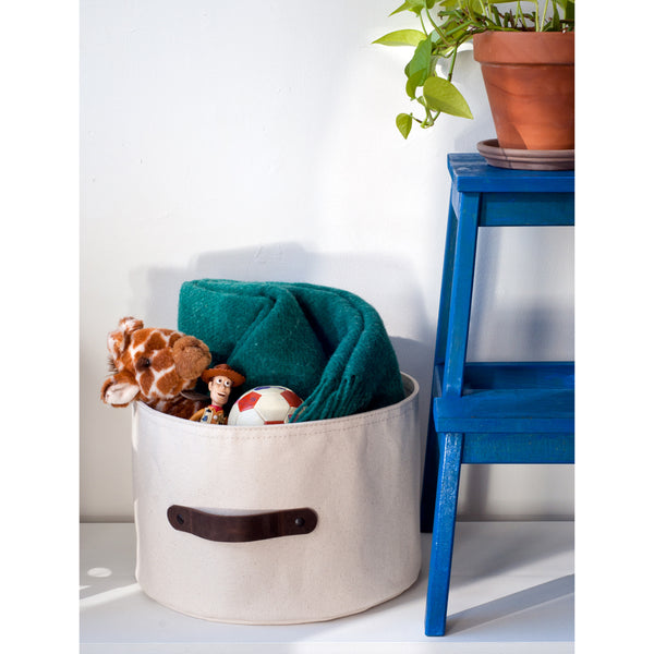 Small Canvas Storage Basket 9 H x 13 1/2 D