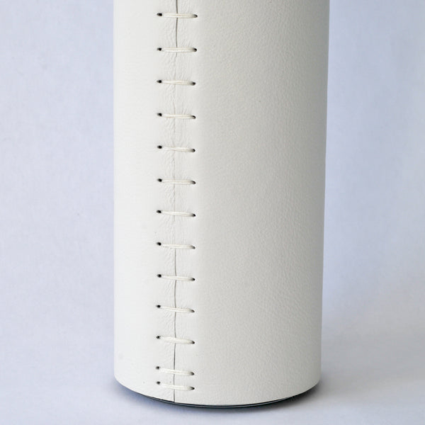 white leather vase