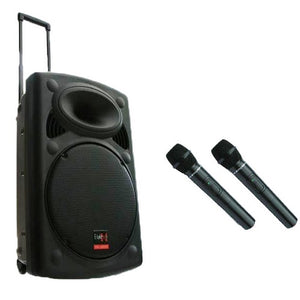 "15"" inch Speaker 900W Mobile PA Sound System Battery Bluetooth Portable with 2 Wireless Microphones"