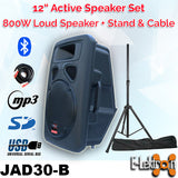 "E-lektron 12"" inch Powerful 800W Active Speaker Loud Digital Sound System PA Bluetooth with RAC cable and Stand"