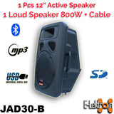 "E-Lektron 2X12"" inch Speakers 1600W Active+Passive Laud Sound System Bluetooth USB PA Set with 5M Speakon Cable"