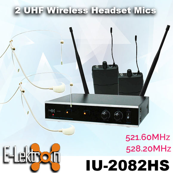 E-Lektron IU-2082HS digital UHF 2 x Headset wireless microphone system Set