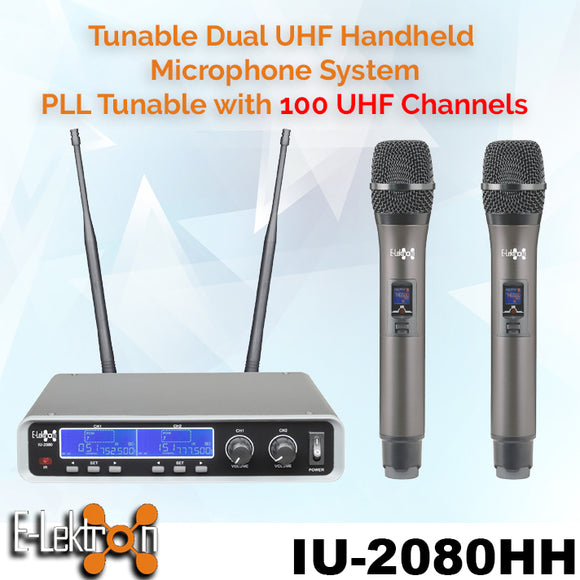 IU-2080HH Dynamic UHF Digital 100 Channels Tunable Wireless Microphone System 2xHandheld