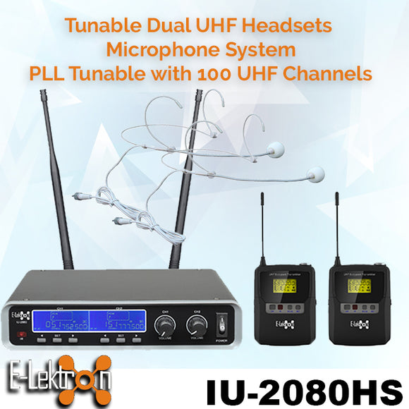IU-2080HS Dynamic UHF Digital 100 Channels Tunable Wireless Microphone System 2xHandset
