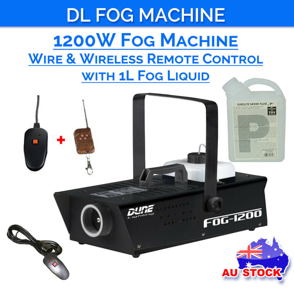 DL 1200w Fog Smoke Machine with Wired and Wireless Remote Control plus 1L Liquid