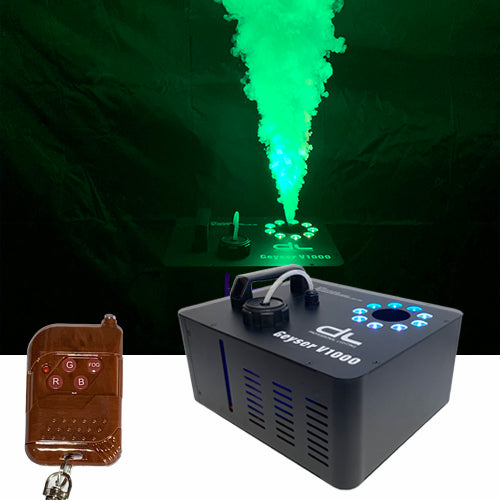 DL Geyser Vertical 1000W Tri-color RGB LED Fog Machine with DMX, Timer and Wireless Remote Control