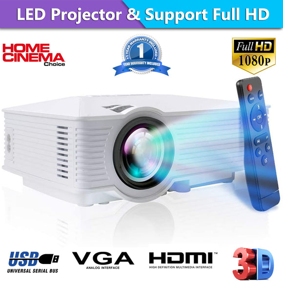 Portable 1080P 7000 Lumens HD LED Multimedia Projector Home Cinema Theater HDMI