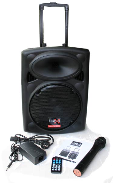 10″ Inch Speaker 500W Mobile PA Sound System Battery Bluetooth Portable With 1 Wireless Microphones