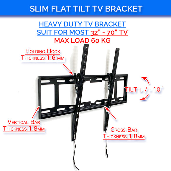 Slim Tilt Flat TV Wall Mount for 32