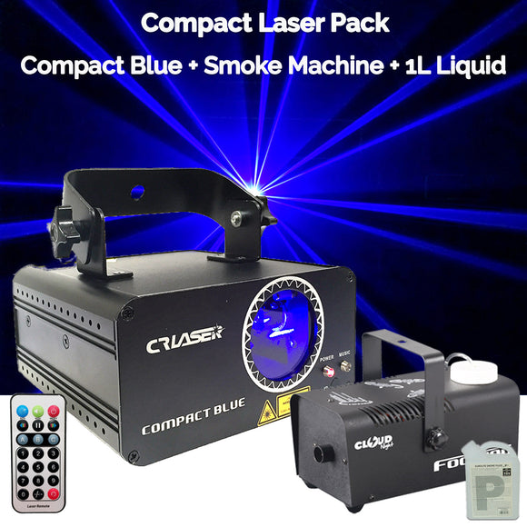 CR Compact Blue 500mW Laser Disco Light Party Set 400W Smoke Machine 1L Liquid