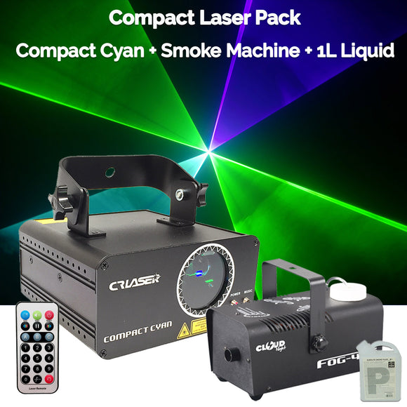 CR Compact Cyan 150mW Laser Disco Light Party Set 400W Smoke Machine 1L Liquid
