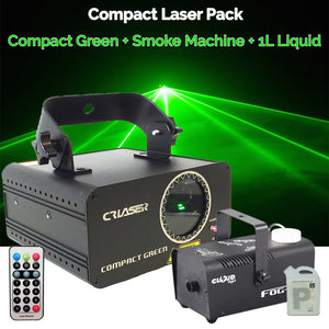CR Compact Green 100mW Laser Disco Light Party Set 400W Smoke Machine 1L Liquid
