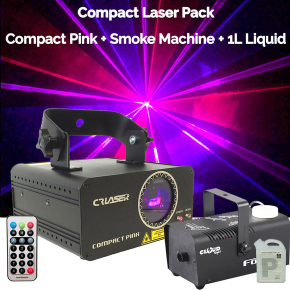 CR Compact Pink 250mW Laser Disco Light Party Set 400W Smoke Machine 1L Liquid