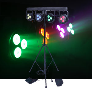 CR Lite Power Party Stage Wash Package come with Stand and Carry Bag DJ 4 Bar LED Par can Pack 12x9W TRI Powerful LED