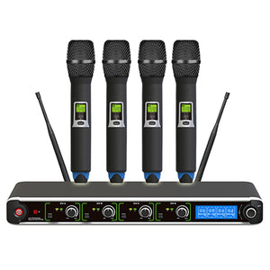E-Lektron Dynamic UHF wireless Tunable 4 Handheld Microphone System 400 Channel