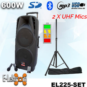 "E-lektron Dual 10"" inch Portable Speaker Set 600W Mobile PA Sound System Battery Bluetooth with 2 UHF Microphone and stand"