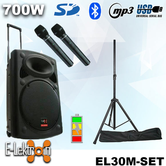 E-lektron 12″ Inch Portable Speaker Set 700W Mobile PA Sound System Battery Bluetooth With 2 Wireless Microphones and Stand