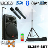 "E-lektron 15"" inch Portable Speaker Set 900W Mobile PA Sound System Battery Bluetooth with 2 Wireless Microphones and Stand"