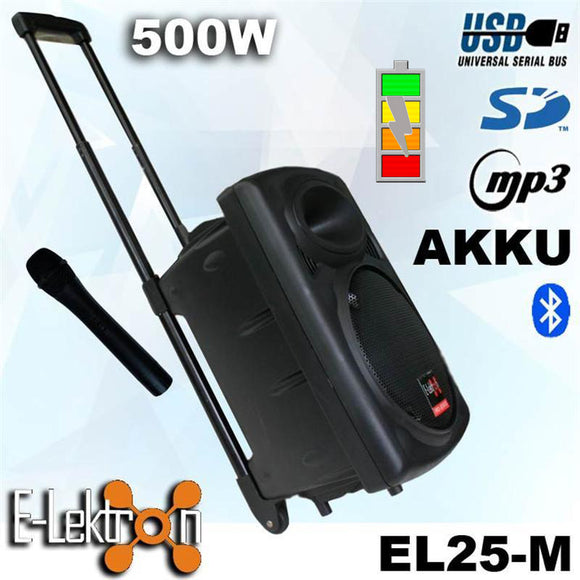 E-lektron 10″ Inch Speaker 500W Mobile PA Sound System Battery Bluetooth Portable With 1 Wireless Microphones