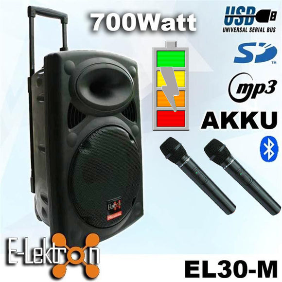 E-lektron 12″ Inch Speaker 700W Mobile PA Sound System Battery Bluetooth Portable With 2 Wireless Microphones