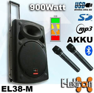 "E-lektron 15"" inch Speaker 900W Mobile PA Sound System Battery Bluetooth Portable with 2 Wireless Microphones"