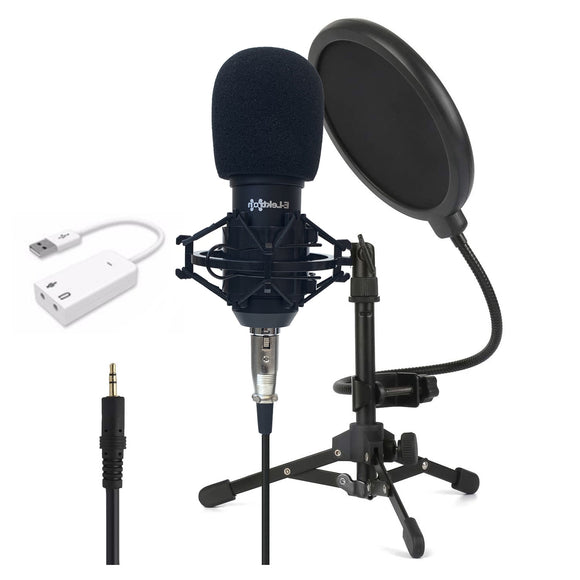 Podcast USB Condenser Microphone with Pop filter stand and sound card