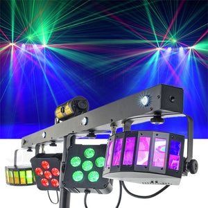 CR Mix Party Giga Bar Pro Derby Parcan  UV/Strobe RG Laser with Wireless footswitch Controller Stand and Carry bag