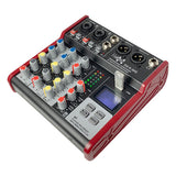 E-Lektron SE-4 Live Audio Mixer 4 Channel Mixer incl. USB Bluetooth Soundcard Phantom Power