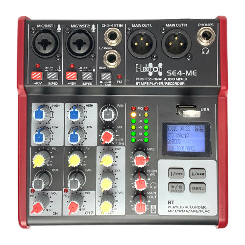 E-Lektron SE-4 Live Audio Mixer 4-Channel USB / Bluetooth / Soundcard / Phantom